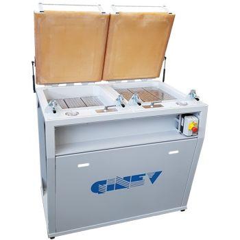 Ginev VACUUM BIG 2 PROFONDO Автоматическое рабочее место с вакуумным прессом на два посадочных места с двумя глубокими резервуарами, резиновой мембраной, плоской подвижной сеткой, вакуумметром и вакуумным выключателем - 230V / 50Hz Одна фаза
