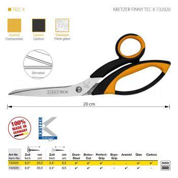 """KRETZER FINNY TEC X 732020 Портновские ножницы для сложныx материалов, длина 8""""/20 см, одностороннее зубчатое лезвие. Производство Германия KRETZER SOLINGEN"""
