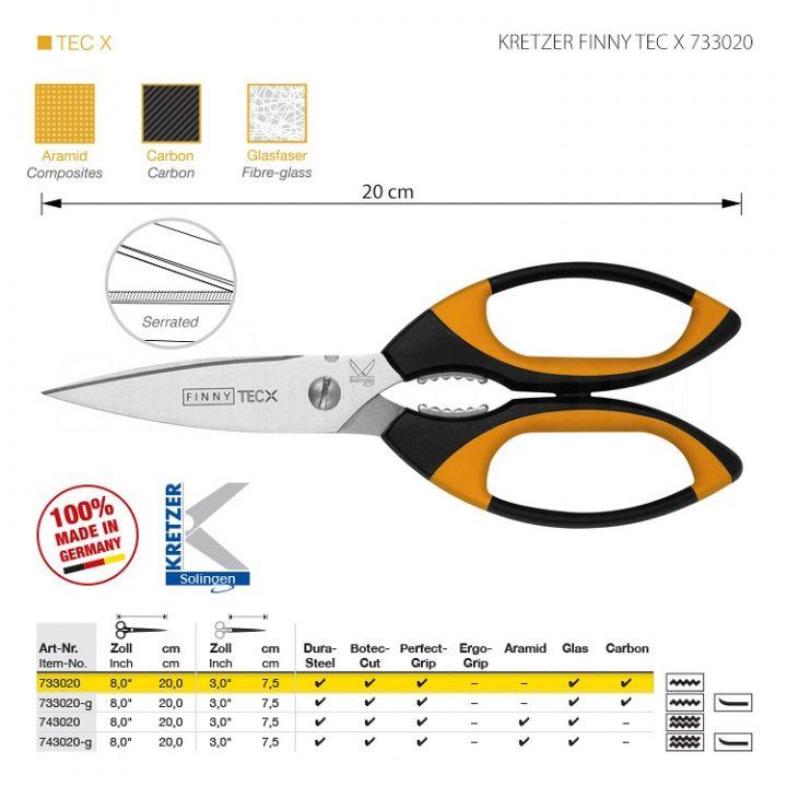 """KRETZER FINNY TEC X 733020 Портновские ножницы для сложныx материалов, длина 8""""/20 см, одностороннее зубчатое лезвие. Производство Германия KRETZER SOLINGEN"""