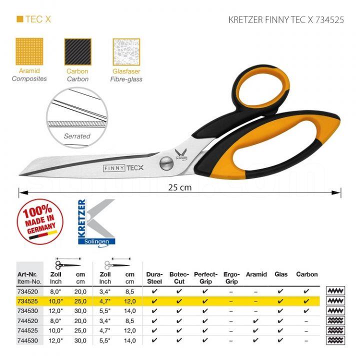 """KRETZER FINNY TEC X 734525 Портновские ножницы для сложныx материалов, длина 10""""/25 см, одностороннее зубчатое лезвие. Производство Германия KRETZER SOLINGEN"""