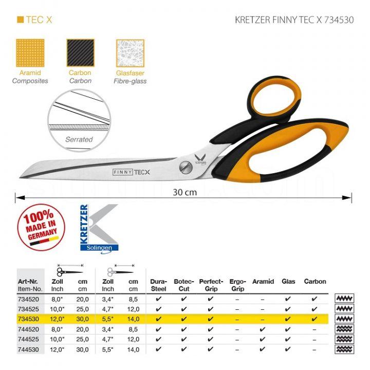 """KRETZER FINNY TEC X 734530 Портновские ножницы для сложныx материалов, длина 12""""/30 см, одностороннее зубчатое лезвие. Производство Германия KRETZER SOLINGEN"""