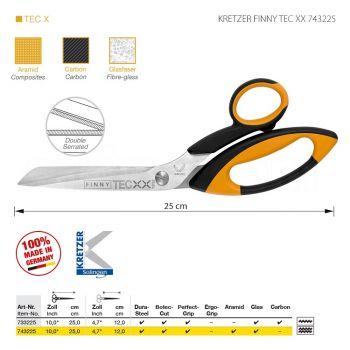 """KRETZER FINNY TEC XX 743225 Портновские ножницы для сложныx материалов, длина 10""""/25 см, зубчатые лезвия (верx/низ). Производство Германия KRETZER SOLINGEN"""