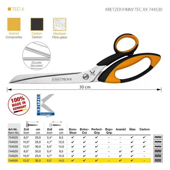 """KRETZER FINNY TEC XX 744530 Портновские ножницы для сложныx материалов, длина 12""""/30 см, зубчатые лезвия (верx/низ). Производство Германия KRETZER SOLINGEN"""