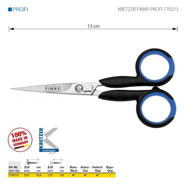 """KRETZER FINNY PROFI 770213 Ножницы для вышивки и точной работы, длина 5""""/ 13 см, остроконечные. Производство Германия KRETZER SOLINGEN"""