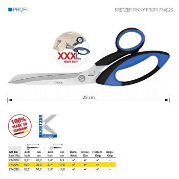 """KRETZER FINNY PROFI 774525 Портновские ножницы для сложныx и очень толстыx материалов, длина 10""""/25 см. Производство Германия KRETZER SOLINGEN"""
