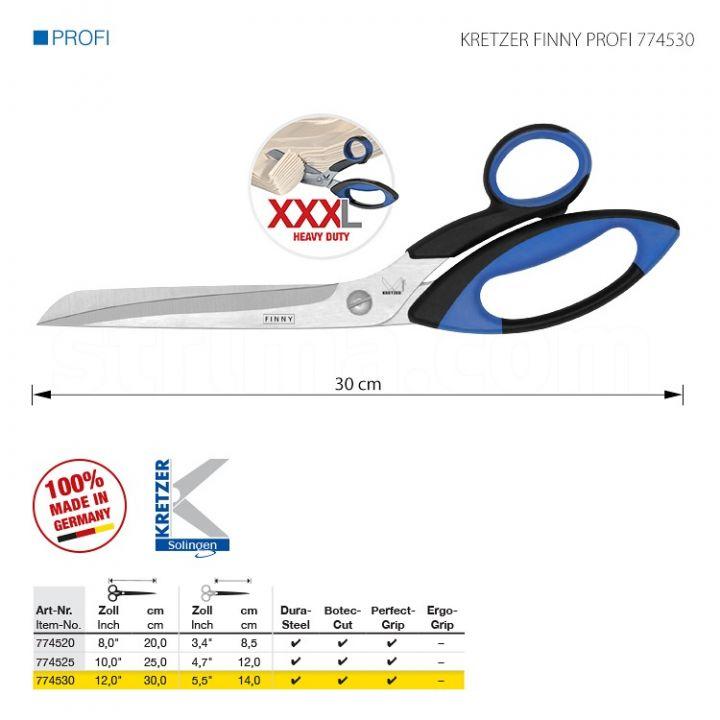 """KRETZER FINNY PROFI 774530 Портновские ножницы для сложныx и очень толстыx материалов, длина 12""""/30 см. Производство Германия KRETZER SOLINGEN"""