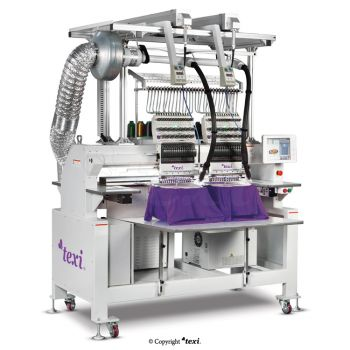TEXI 1502 TS PREMIUM LC SET TEXI 1502 TS PREMIUM LC SET is a 15-needle, two-head embroidery machine with laser instrumentation for cutting patterns.