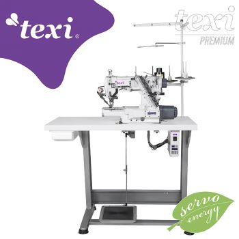 TEXI TRECCIA C MATIC PREMIUM 3-игольная плоскошовная швейная машина с цилиндрической платформой, электромагнитным обрезанием нити, встроенным серводвигателем - комплект