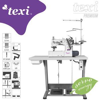 TEXI TRECCIA PREMIUM 3-игольная плоскошовная швейная машина со встроенным серводвигателем, позиционированием иглы – комплект