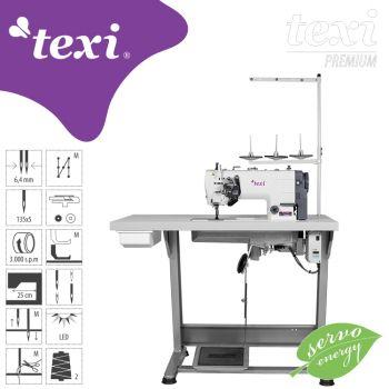 TEXI TWIN MS PREMIUM 2-игольная прямострочная швейная машина с игольным продвижением, серводвигателем - комплект
